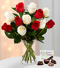 Christmas Kindness Rose Bouquet - 12 Stems - VASE INCLUDED & FREE Russel Strover ® Chocolates