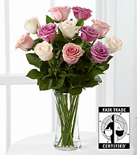 Peaceful Promises Fair Trade Rose Bouquet - 12 Stems - VASE INCLUDED