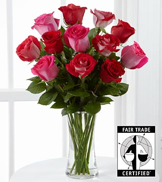 One Love Fair Trade Rose Bouquet - 12 Stems - VASE INCLUDED