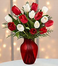 Merry Moments Holiday Tulip Bouquet- 15 Stems- VASE INCLUDED