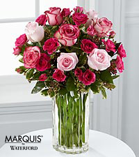 Paris Pinks Bouquet in Waterford&reg; - 14 Stems - VASE INCLUDED