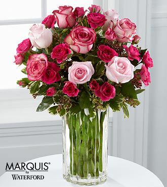 Paris Pinks Bouquet in Waterford® - 14 Stems - VASE INCLUDED