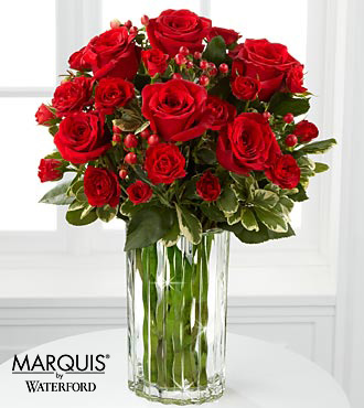 Heart's Truth Bouquet in Waterford&reg; - 11 Stems - VASE INCLUDED