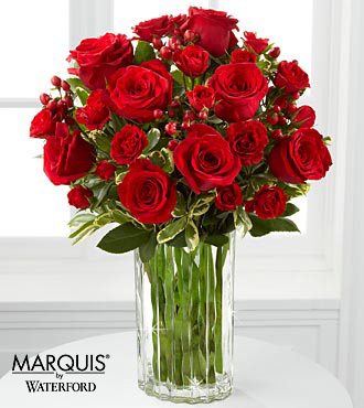 Heart's Truth Bouquet in Waterford® - 13 Stems - VASE INCLUDED