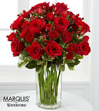 Heart's Truth Bouquet in Waterford® - 16 Stems - VASE INCLUDED