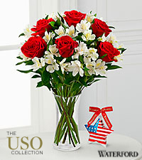 Let Freedom Ring Bouquet with Waterford ® Patriotic Star - 10 Stems - VASE INCLUDED