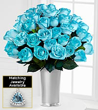 Floral Gemstone Sparkling Seas Aquamarine Rose Bouquet