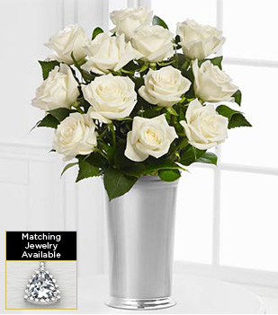 The Floral Gemstone White Topaz Rose Bouquet  - VASE INCLUDED