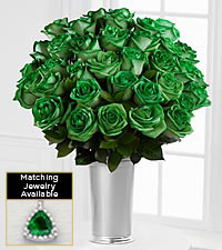 The Floral Gemstone Flash of Green Emerald Rose Bouquet