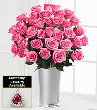 Floral Gemstone Pink Rhodolite Rose Bouquet