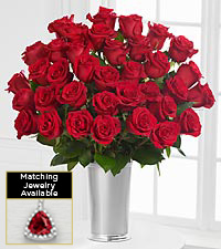 Floral Gemstone Red Hot Ruby Rose Bouquet