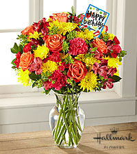 The FTD ® Bright and Happy Birthday Bouquet by Hallmark- VASE INCLUDED