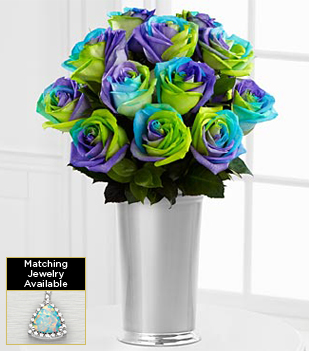 Flowers Gemstone Alluring Hues Opal Rose Flowers - 12 Stems - VASE INCLUDED