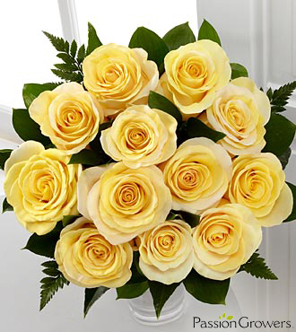 Passion&trade; for Sunshine Rose Bouquet - 12 Stems of 20-inch Roses