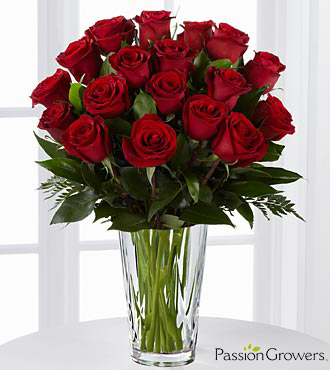 Passion for Romance Rose Flowers - 18 Stems of 20-inch Roses - VASE INCLUDED