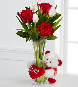 Huggably Yours Valentine Flowers - Vase Included with white teddy bear
