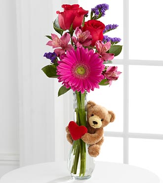 Get Well Hugs Flowers - 5 Stems - Vase Included