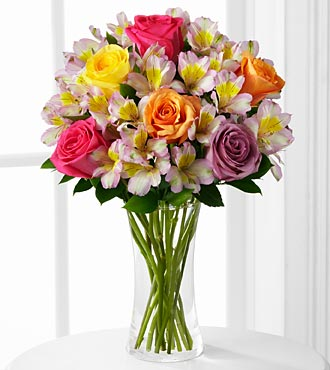 Colorful Connection Bouquet - 14 Stems - VASE INCLUDED