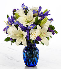 Ever in My Thoughts Sympathy Bouquet - Blue & White- VASE INCLUDED
