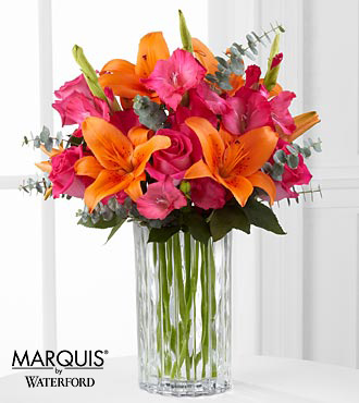 Sweet Samba Rose & Lily Bouquet in Waterford® - 9 Stems - VASE INCLUDED