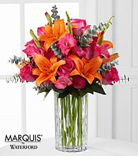 Sweet Samba Rose & Lily Bouquet in Waterford&reg; - 11 Stems - VASE INCLUDED