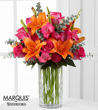 Sweet Samba Rose & Lily Bouquet in Waterford® - 11 Stems - VASE INCLUDED