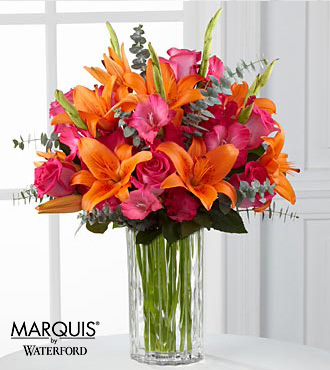 Sweet Samba Rose & Lily Bouquet in Waterford® - 14 Stems - VASE INCLUDED