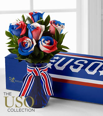 Perfect Patriot Fiesta Rose Bouquet - 6 Stems - VASE INCLUDED
