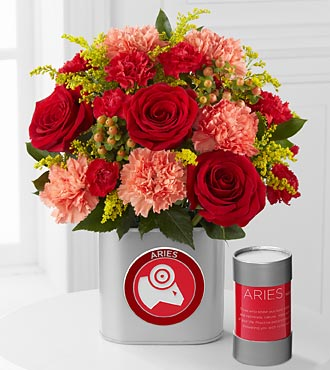 The FTD® Discovering Your Star Aries Zodiac Flower Bouquet - 12 Stems - VASE INCLUDED