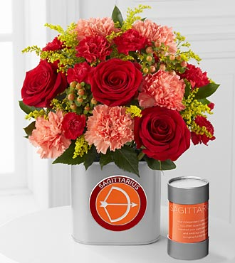 The FTD&reg; Discovering Your Star Sagittarius Zodiac Flower Bouquet - 12 Stems - VASE INCLUDED