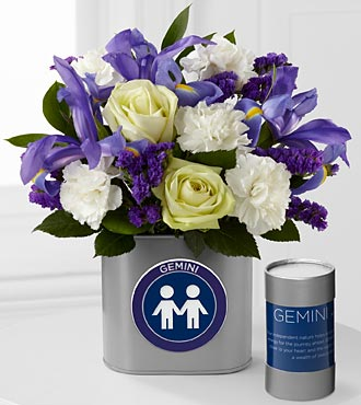 The FTD® Discovering Your Star Gemini Zodiac Flower Bouquet - 12 Stems - VASE INCLUDED
