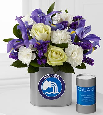 The FTD&reg; Discovering Your Star Aquarius Zodiac Flower Bouquet - 12 Stems - VASE INCLUDED