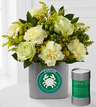 The FTD&reg; Discovering Your Star Cancer Zodiac Flower Bouquet - 9 Stems - VASE INCLUDED