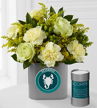 The FTD&reg; Discovering Your Star Scorpio Zodiac Flower Bouquet - 9 Stems - VASE INCLUDED