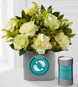 The FTD&reg; Discovering Your Star Pisces Zodiac Flower Bouquet - 9 Stems - VASE INCLUDED