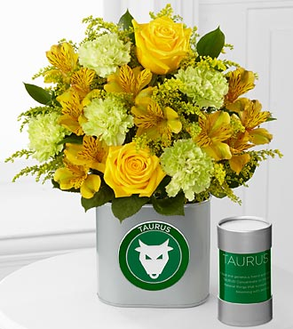 The FTD&reg; Discovering Your Star Taurus Zodiac Flower Bouquet - 10 Stems - VASE INCLUDED