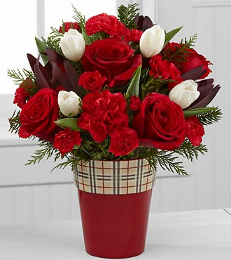 Christmas Comforts Rose & Tulip Flowers - 13 Stems - VASE INCLUDED