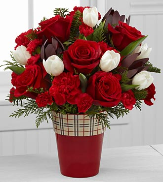 Christmas Comforts Rose & Tulip Bouquet - 19 Stems - VASE INCLUDED