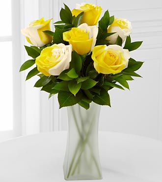 Rising Sun Fiesta Rose Bouquet - 6 Stems - VASE INCLUDED