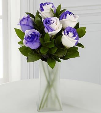 Lilac Inspirations Rainbow Rose Bouquet - 6 Stems - VASE INCLUDED