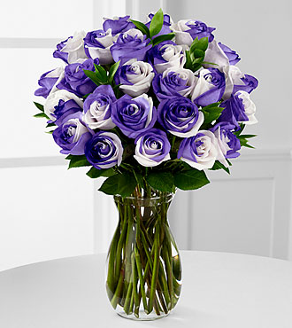 Lilac Inspirations Rainbow Rose Bouquet - 24 Stems - VASE INCLUDED