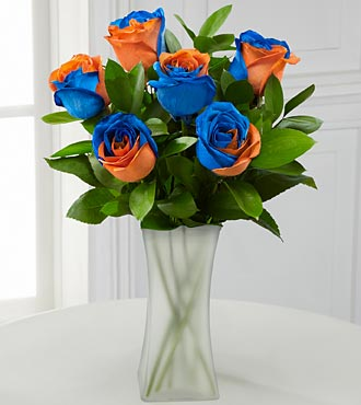 Blazing New Trails Rainbow Rose Bouquet - 6 Stems - VASE INCLUDED