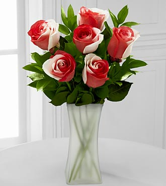 You Are Loved Rainbow Rose Bouquet - 6 Stems - VASE INCLUDED