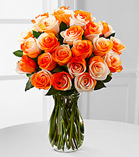 Orange Dreamsicle Rainbow Rose Bouquet - 24 Stems - VASE INCLUDED