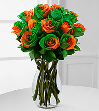 Citrus Sensation Rainbow Rose Bouquet - 12 Stems - VASE INCLUDED