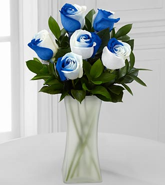 Rhapsody in Blue Rainbow Rose Bouquet - 6 Stems - VASE INCLUDED