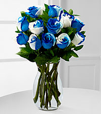 Rhapsody in Blue Rainbow Rose Bouquet - 12 Stems - VASE INCLUDED