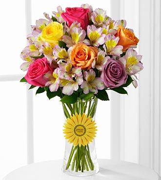 "Happy Birthday Smiles ""singing"" Flowers - 15 Stems - Vase Included"
