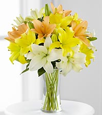 Sunny Days Ahead Asiatic Lily Bouquet - 9 Stems - VASE INCLUDED