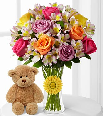 "Happy Birthday Smiles ""singing"" Flowers With Bear - 20 Stems - Vase Included"